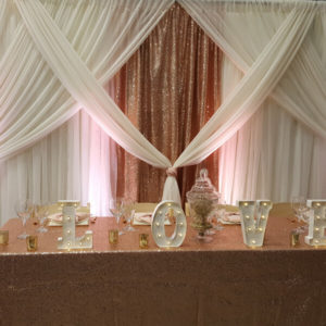 Blush Glitz Backdrop | Celebrations by Rent-All located in Sioux Center | Wedding Rental | Backdrops For Rent