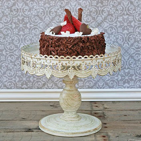 """Cake Stand Antique White 10""""   Celebrations by Rent-All located in Sioux Center   Wedding Rentals   For Rent"""