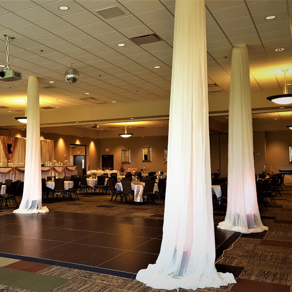 Ceiling Columns | Celebrations by Rent-All located in Sioux Center | Wedding Rental | Ceiling Decor For Rent