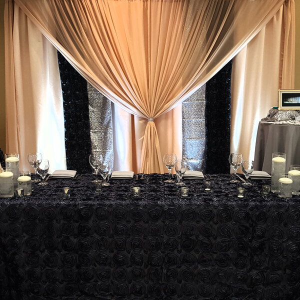 Charcoal Backdrop | Celebrations by Rent-All located in Sioux Center | Wedding Rental | Backdrops For Rent