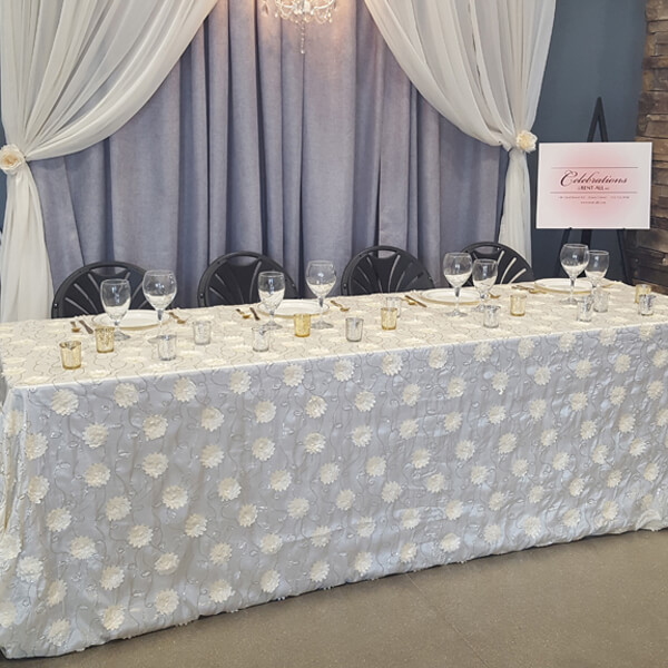 Ivory Flower Taffeta Tablecloth | Celebrations by Rent-All located in Sioux Center | Wedding Rental | Tablecloths For Rent