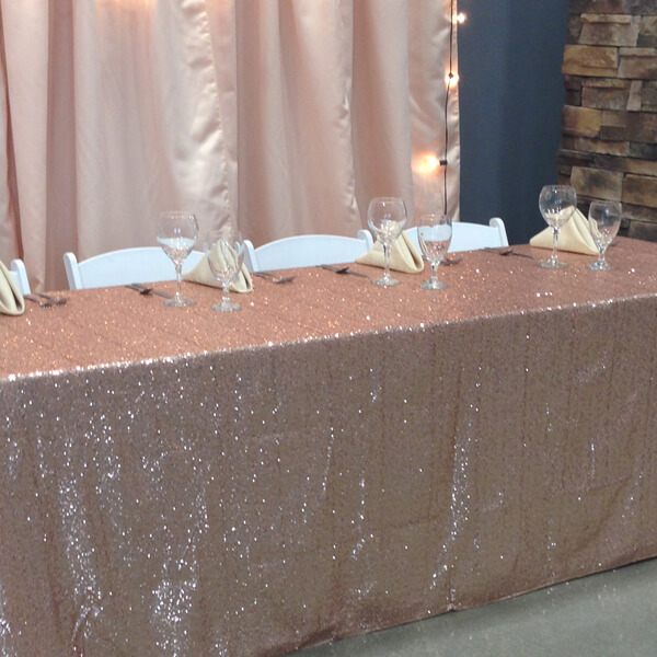 Blush Sequin Glitz Tablecloth | Celebrations by Rent-All located in Sioux Center | Wedding Rental | Tablecloths For Rent