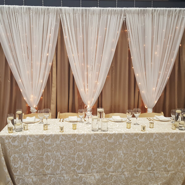 Gold & Ivory Backdrop | Celebrations by Rent-All located in Sioux Center | Wedding Rental | Backdrops For Rent