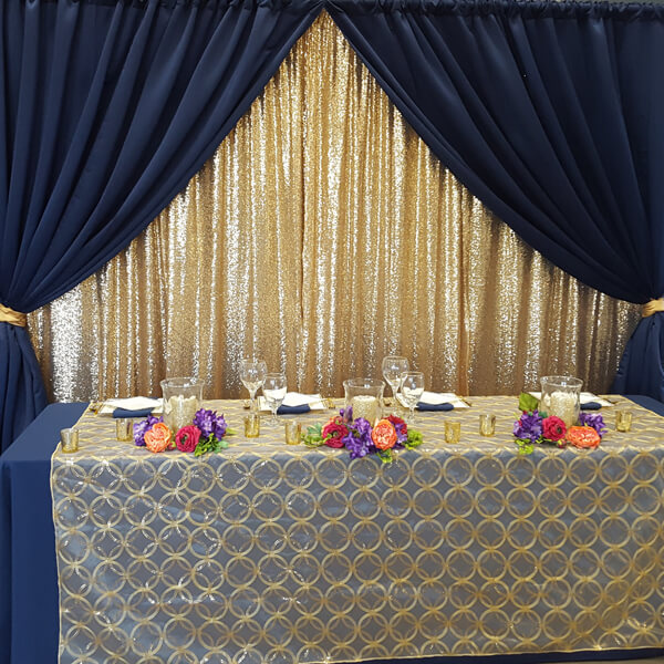 Gold & Navy Backdrop | Rent-All located in Sioux Center, Spencer, Sioux Falls and Storm Lake