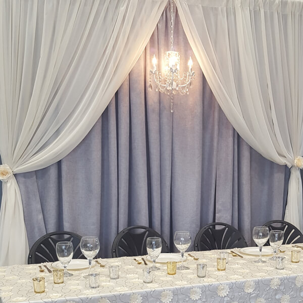 Grey & Ivory Backdrop | Celebrations by Rent-All located in Sioux Center | Wedding Rental | Backdrops For Rent