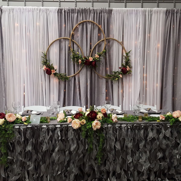 Grey & White Backdrop | Celebrations by Rent-All located in Sioux Center | Wedding Rental | Backdrops For Rent