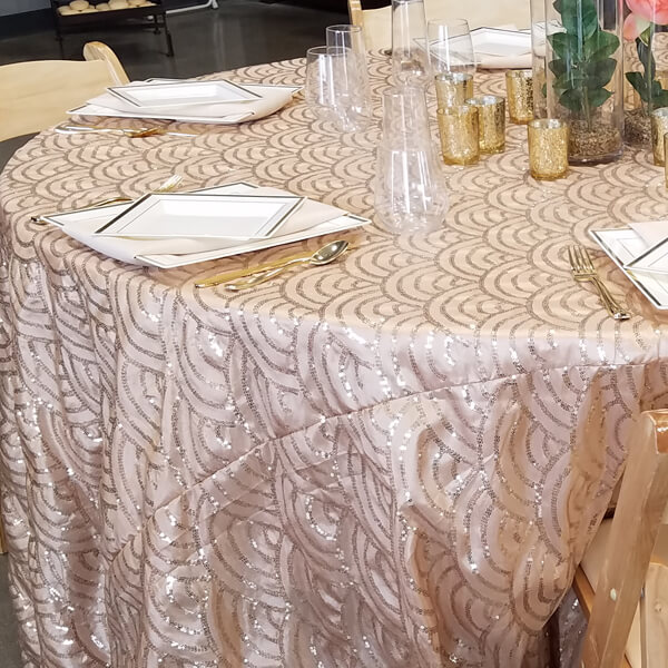 Blush Mermaid Scale Tablecloth | Celebrations by Rent-All located in Sioux Center | Wedding Rental | Tablecloths For Rent