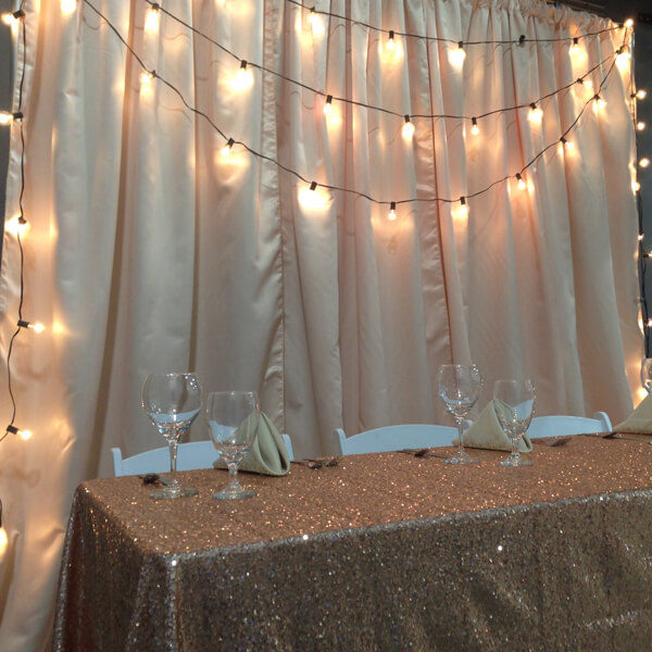 Mini Globe Lights Backdrop | Celebrations by Rent-All located in Sioux Center | Wedding Rental | Backdrops For Rent