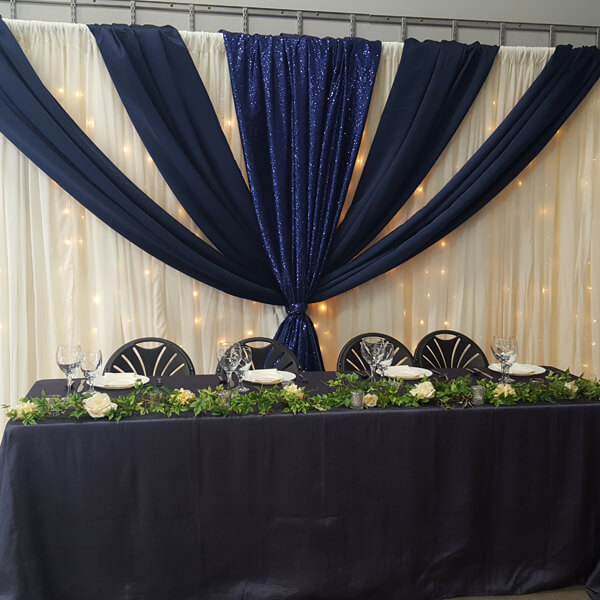 Navy Glitz Backdrop | Celebrations by Rent-All located in Sioux Center | Wedding Rental | Backdrops For Rent