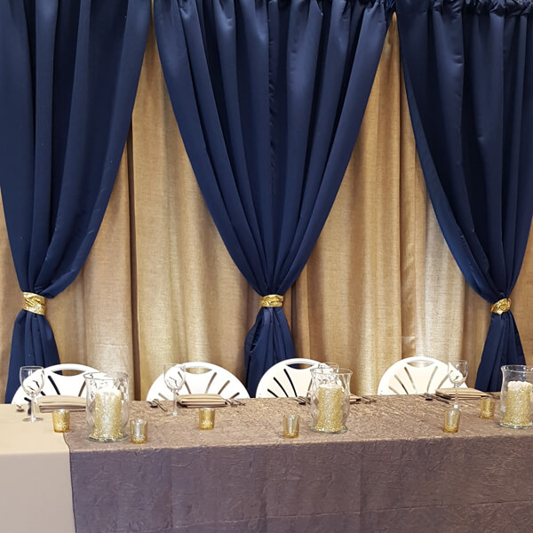 Navy & Wheat Backdrop | Celebrations by Rent-All located in Sioux Center | Wedding Rental | Backdrops For Rent