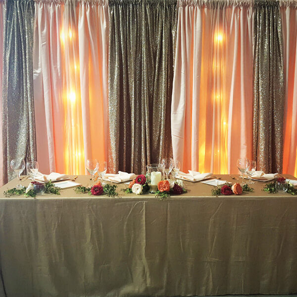Peach & Glitz Backdrop | Celebrations by Rent-All located in Sioux Center | Wedding Rental | Backdrops For Rent
