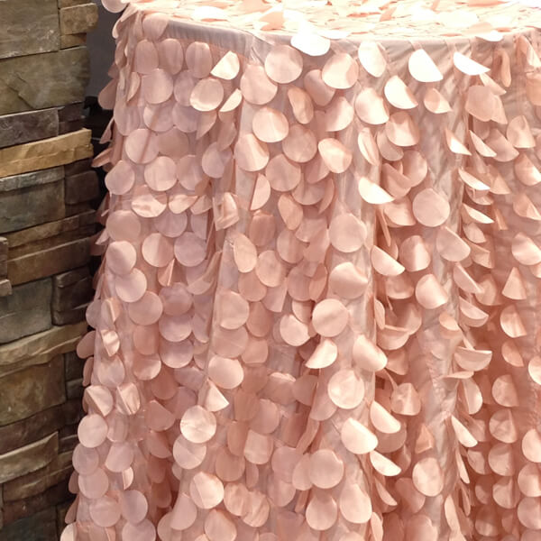 Blush Petal Circle Tablecloth | Celebrations by Rent-All located in Sioux Center | Wedding Rental | Tablecloths For Rent