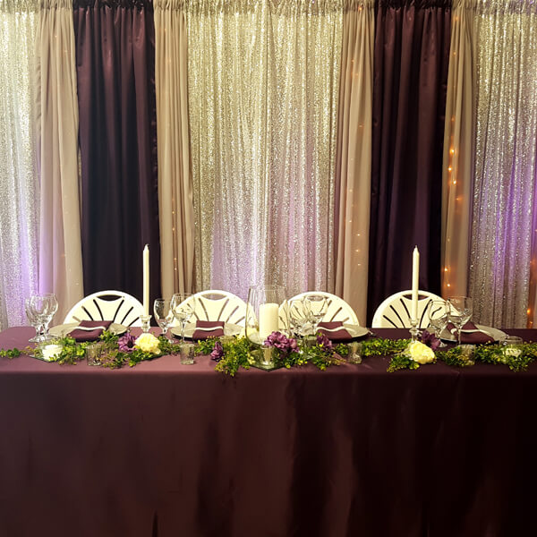 Plum & Silver Glitz Backdrop | Celebrations by Rent-All located in Sioux Center | Wedding Rental | Backdrops For Rent