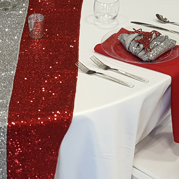 Red Glitz Sequin Runner   Celebrations by Rent-All located in Sioux Center   Wedding Rental   Table Runners For Rent