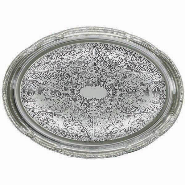 Oval Silver Serving Tray | Celebrations by Rent-All located in Sioux Center | For Rent | Serving Rentals