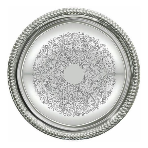Round Silver Serving Tray | Celebrations by Rent-All located in Sioux Center | For Rent | Serving Rentals