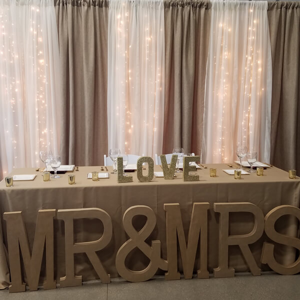 Wheat & Ivory Backdrop | Celebrations by Rent-All located in Sioux Center | Wedding Rental | Backdrops For Rent