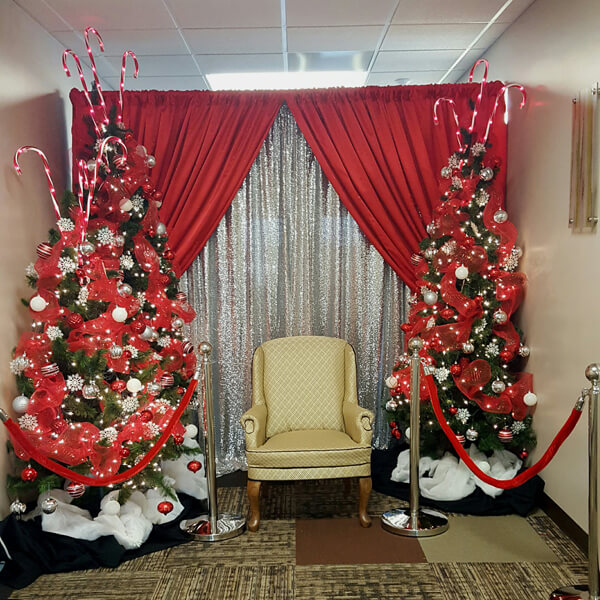 christmas trees santa chair celebrations by rent all located in sioux center - Rent A Decorated Christmas Tree