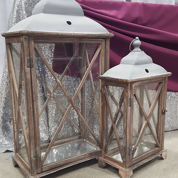 Large Wooden Lanterns | Celebrations by Rent-All located in Sioux Center | Wedding Decor For Rent