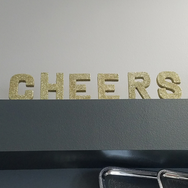 CHEERS Letters - Gold | Celebrations by Rent-All located in Sioux Center | Wedding Sign Decor For Rent